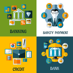 Set of banking and financial flat designs