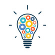 Simple light bulb conceptual icon with colorful gears inside - 73234673