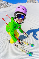Skiing, winter, snow - girl enjoying winter
