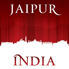 Jaipur India city skyline silhouette red background