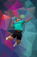 Vector badminton player on triangular background during smash