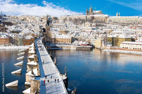 Prague castle and Charles bridge, Prague, Czech republic - 73235279