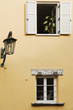 canvas print picture - two windows and a lantern