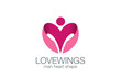 Man Wings as Heart shape Logo design vector template