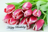 Happy birthday card with pink tulips - 73235443