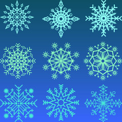 Set of simple snowflakes
