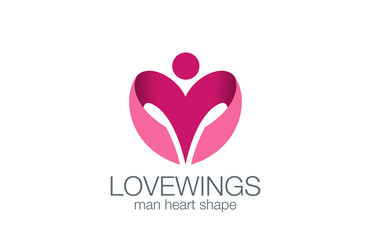 Man Wings as Heart shape Logo design vector template