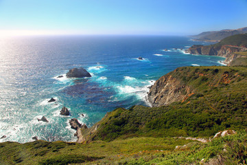 Panoramic view of Pacific coast