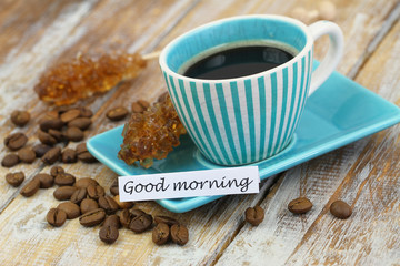 Good morning card with vintage cup of coffee on rustic wood