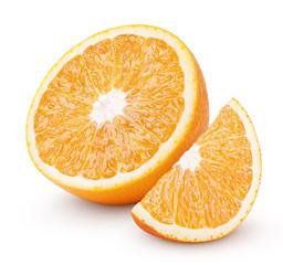 Half and slice orange citrus fruit isolated on white
