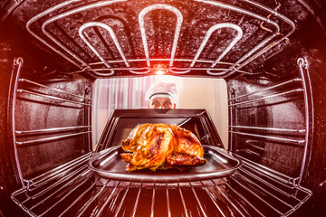 Cooking chicken in the oven.