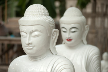 Group of Marble Buddha was carved Placed outside.