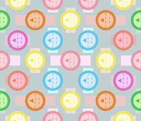 Abstract seamless geometric pattern of fancy varicolored shapes
