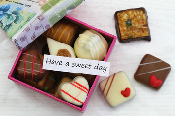 Have a sweet day card with box of chocolates