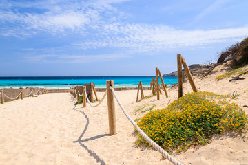 Way to sandy Cala Agulla beach, Majorca island, Spain