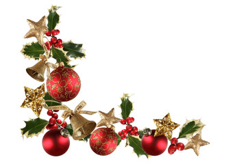 Navidad, adorno navideño, bolas, campanas, acebo, fondo blanco