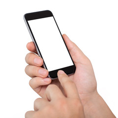 Isolated male hands holding the phone with white screen