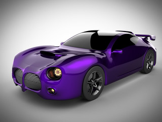 violet luxury brandless sport car on white background