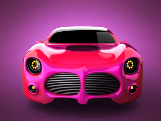 red luxury brandless sport car on pink background