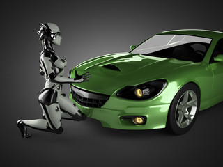 luxury brandless sport car and woman robot