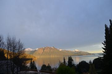 sunrise on mountains along lake Nahuel Huapi, Bariloche