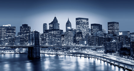 Manhattan and Brooklyn bridge night view