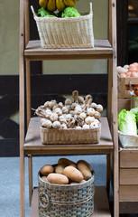 Plastic garlic in basket