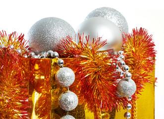 Christmas balls and tinsel as symbol of New Year