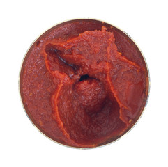 Opened can of tomato paste on a white background
