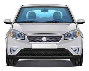 Vector silver Car - Front view   visible interior version