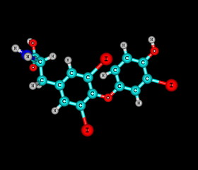 Triiodothyronine molecule isolated on black