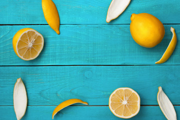 Lemons frame on the bright cyan background