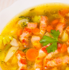 Fresh vegetable soup with meat