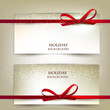 Set of two elegant gift cards with red ribbons.Vector illustrati