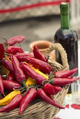 Red hot pepper in a basket