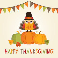 happy thanksgiving card owl turkey costume bunting flags