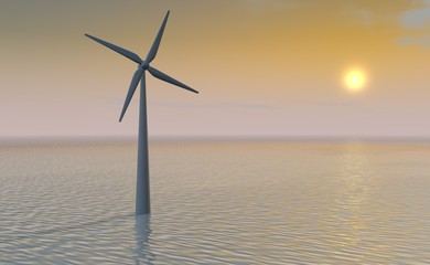Windmolen bij ondergaande zon boven zee