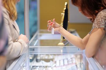 Woman at a jeweler