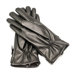 Woman Black Leather Gloves Isolated