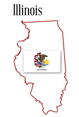 Illinois State Map and Flag