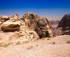 red rock formations in Petra Jordan.
