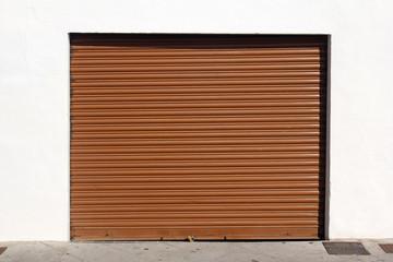 brown metal garage door