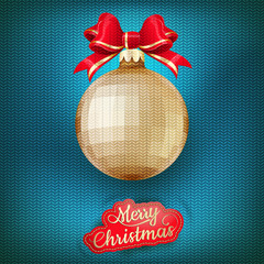 Christmas label on a knitted background. EPS 10