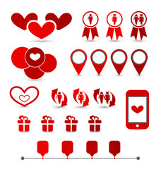 Set infographic elements of valentine presentation