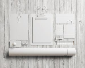 White  identity elements on white wood background