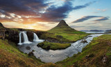 Iceland landscape with volcano and waterfall - 73243859