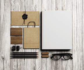 Set of  branding elements on vintage white wood background