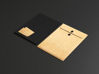 Set of black and kraft branding elements