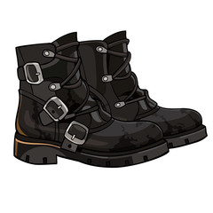 Old black boots with buckles and laces