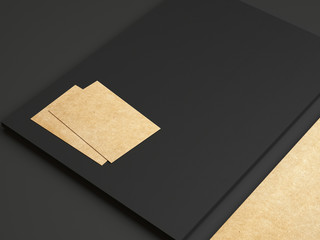 Set of black and kraft identity elements  on paper background